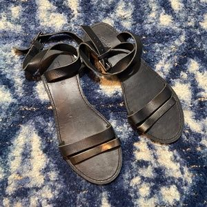 madewell | black double strap leather wrap sandals